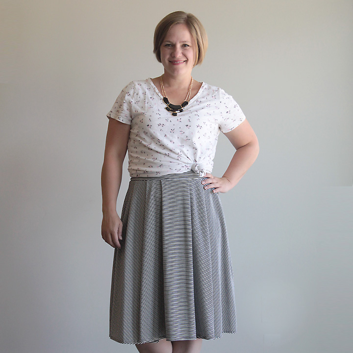 Easy pleated midi skirt sewing tutorial. This is made with knit fabric and an elastic waistband so it's super quick to make!