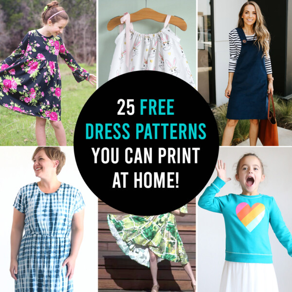 Collage of free dress patterns you can print at home
