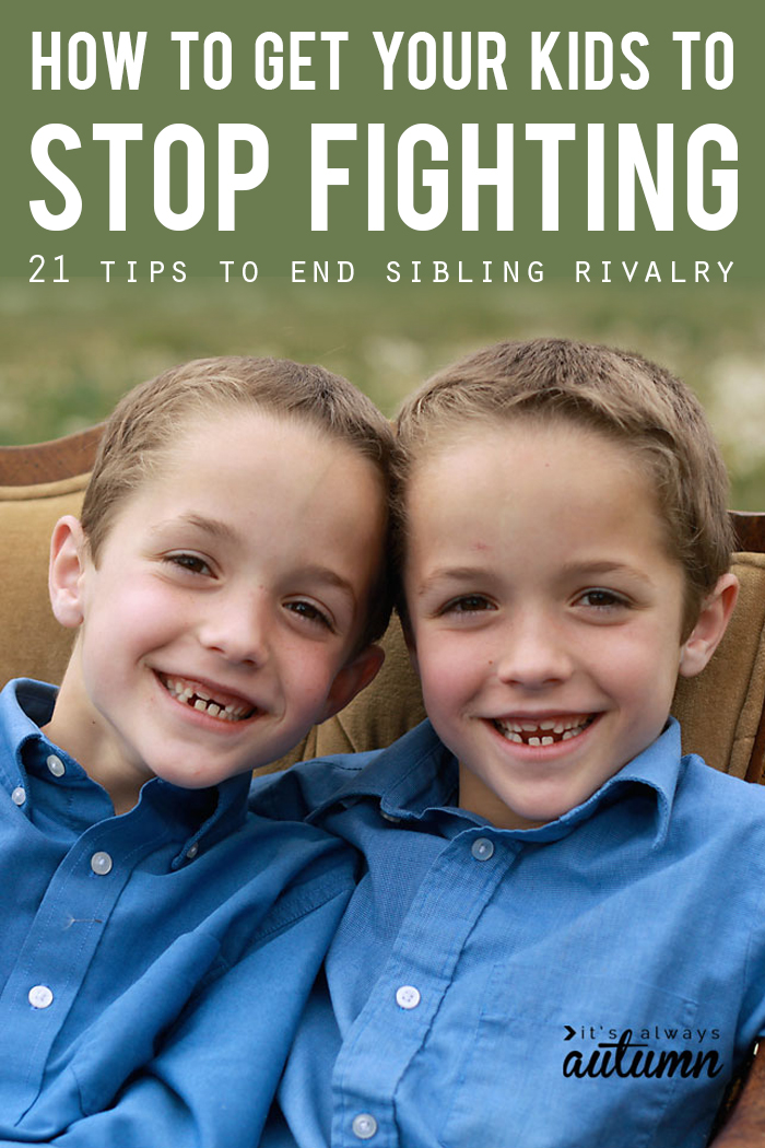 21 ways to put an end to the sibling rivalry and get kids to stop fighting!