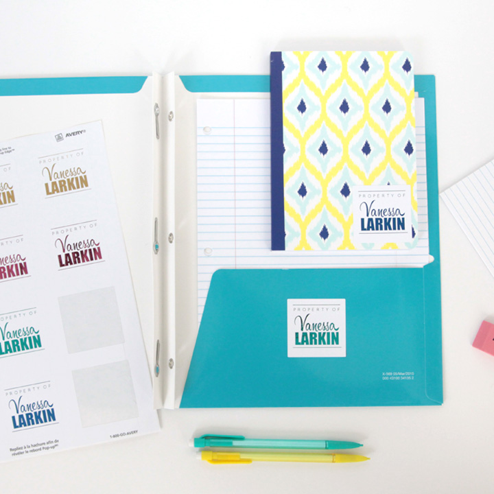 Great idea! Print name labels for your kids' school supplies and other stuff so they can keep track of everything. Free template.
