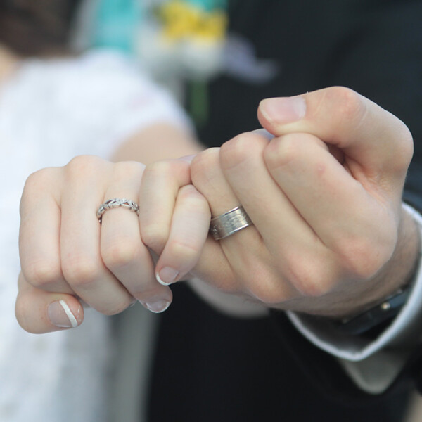 Closeup of bride and grooms hands and wedding rings