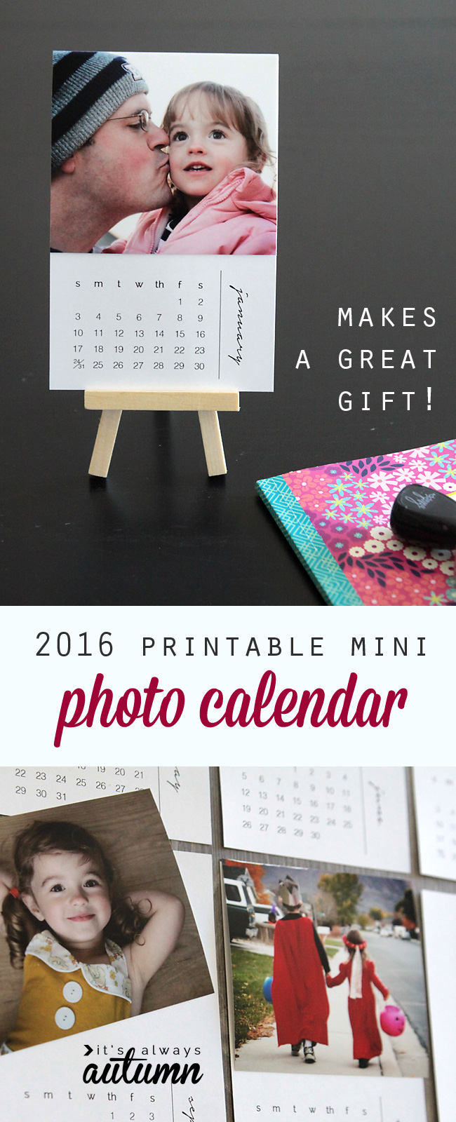 free printable 2016 mini diy photo calendar great gift idea