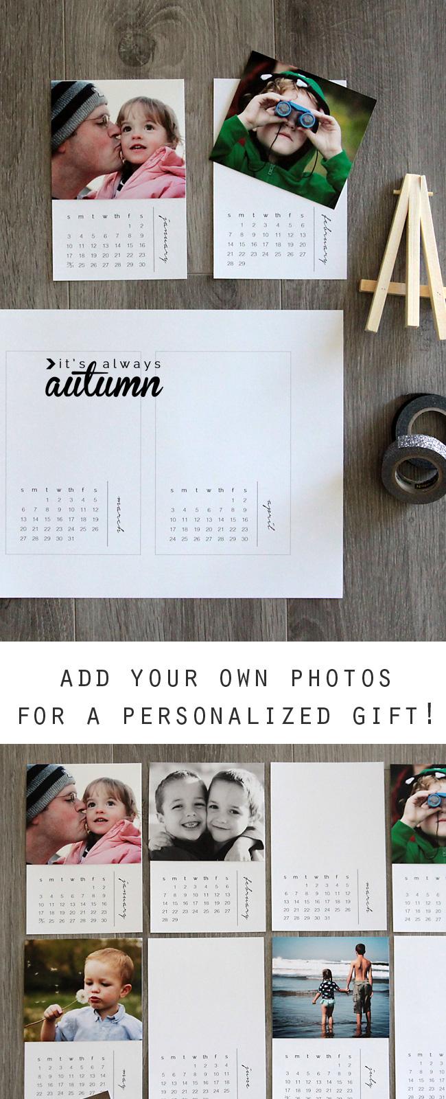 free printable 2016 mini DIY photo calendar {great gift idea ...