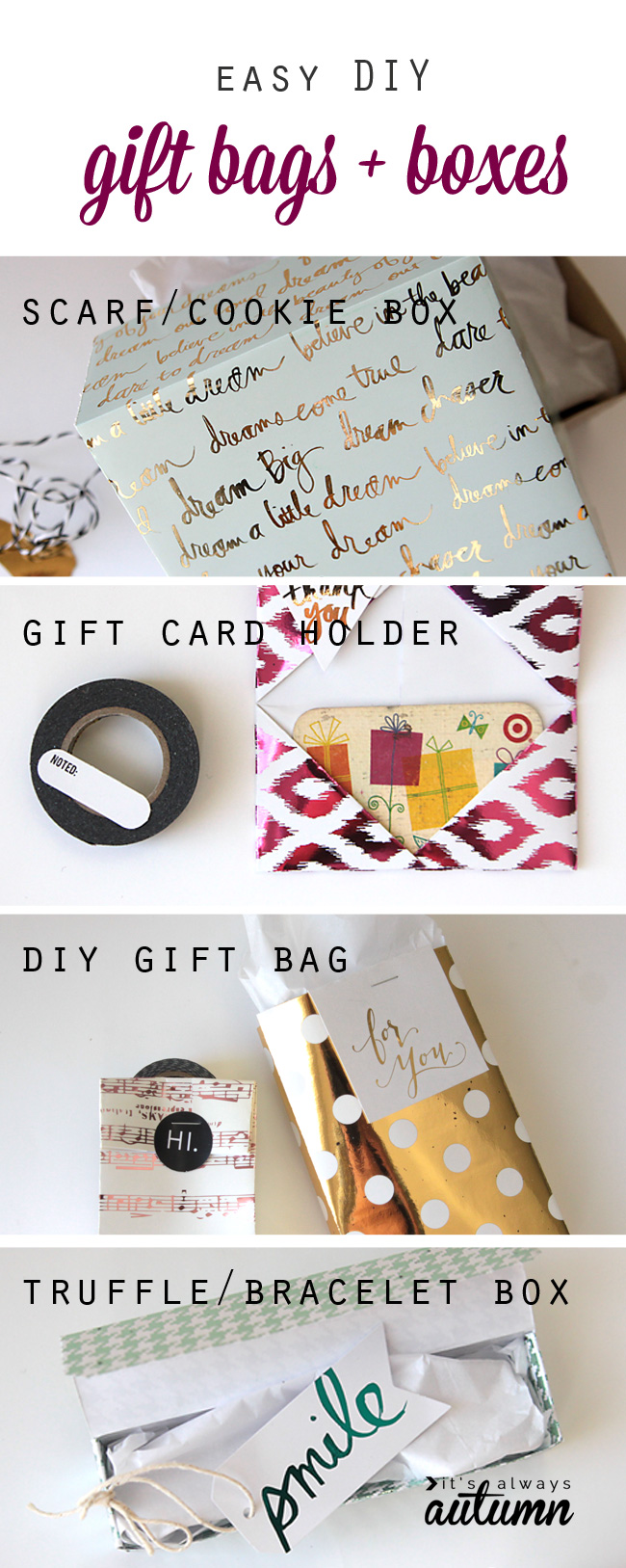 easy diy gift bag boxes and gift card holder  it's