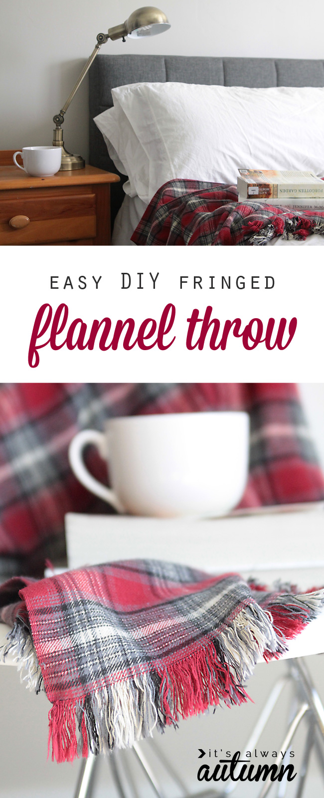 DIY Easy Flannel Throw Blanket