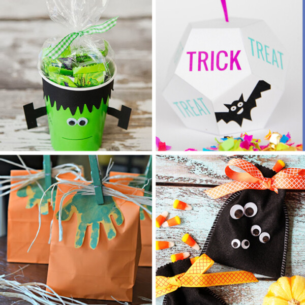 Collage of DIY Halloween treat boxes