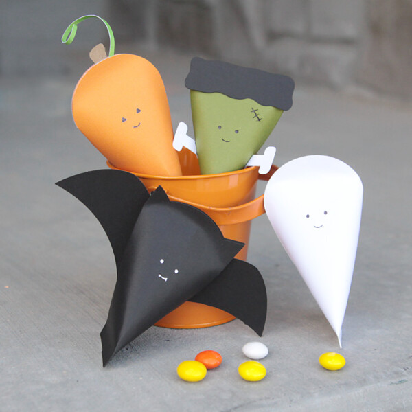 Halloween character goodie boxes made from paper