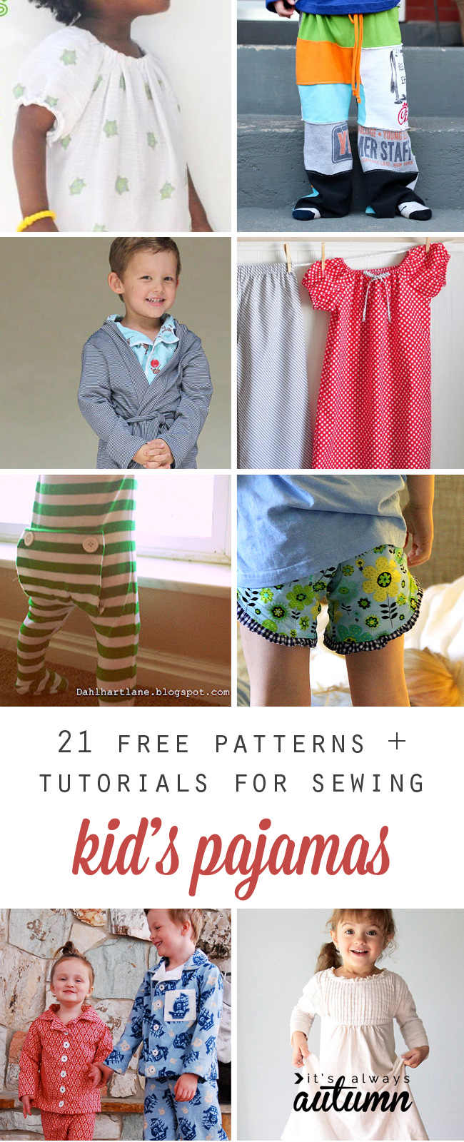 21 free sewing tutorials and patterns for kids\' pajamas - It\'s ...