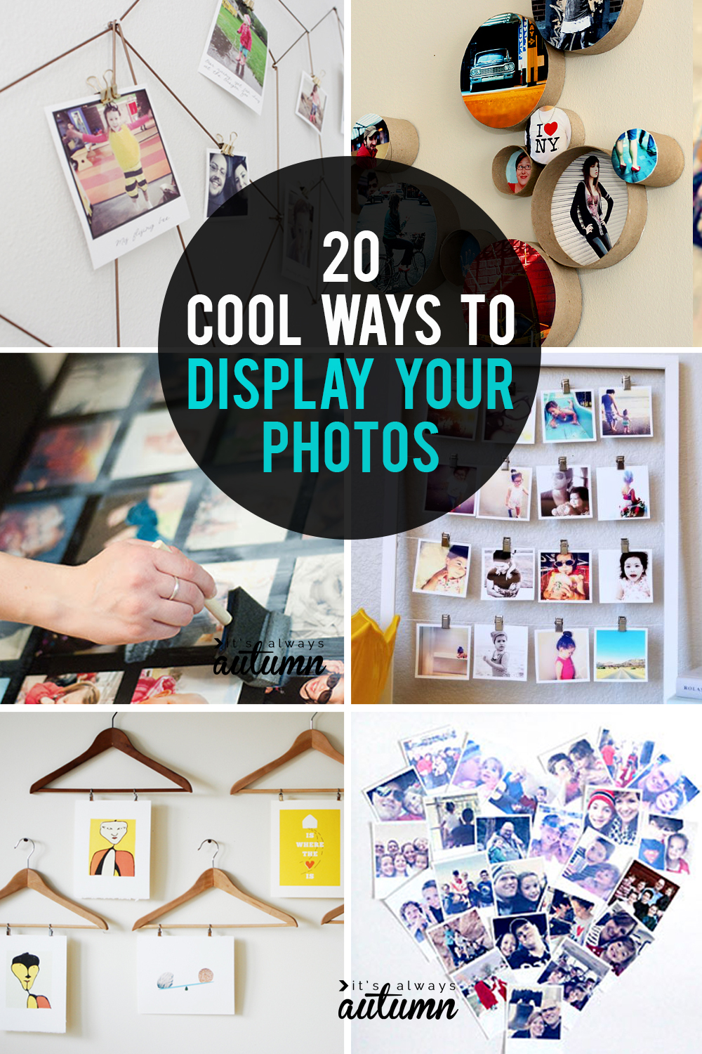 20 cool ways to display your photos. DIY photo display ideas.