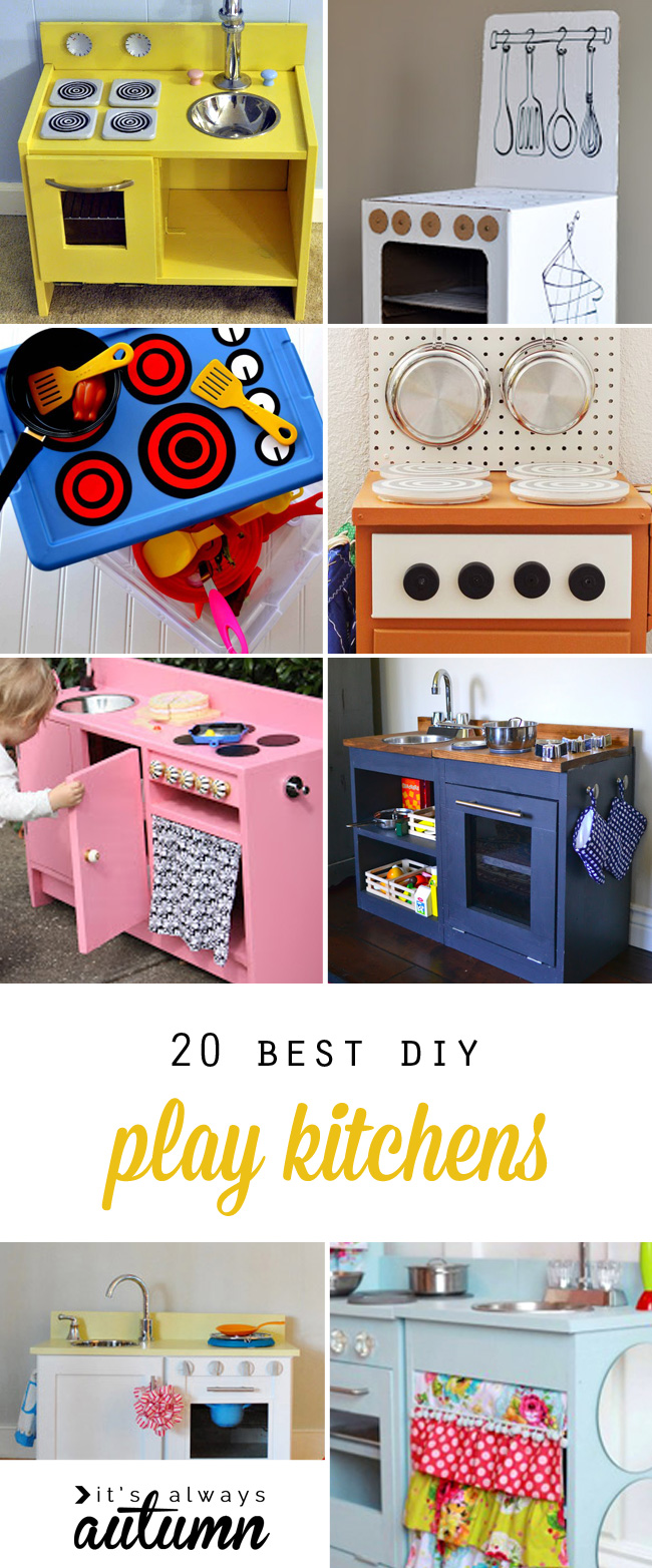 Play kitchens are a great Christmas gift! Learn how to build your own toy kitchen with these 20 best play kitchen tutorials. Click through for ideas and instructions to make an easy cardboard kitchen, a custom wood kitchen, kitchens made from thrifted furniture, and more!