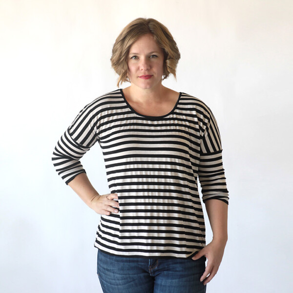 A woman wearing a long sleeve dolman t-shirt made from a free sewing pattern