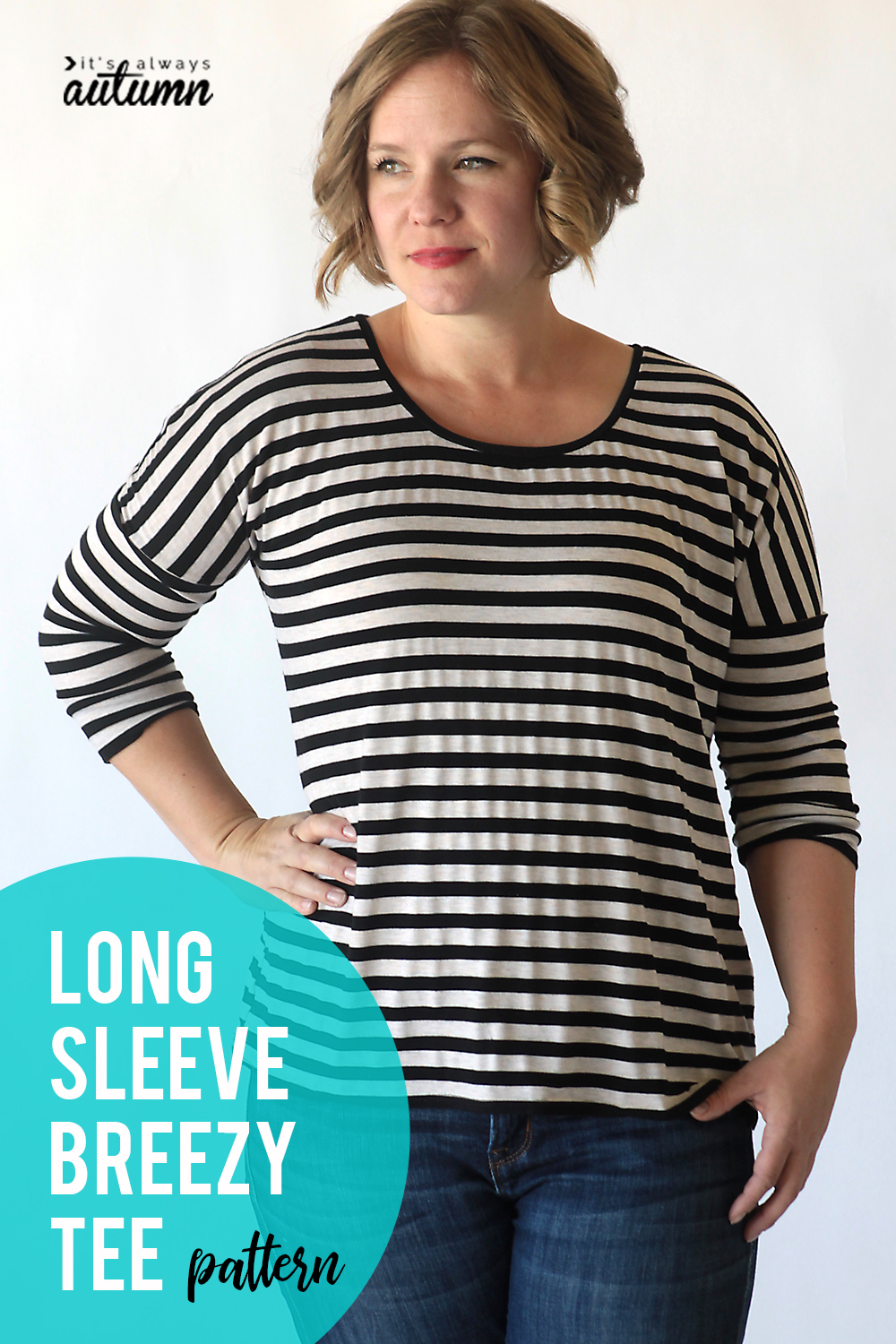 Easy sewing tutorial for the long sleeve breezy tee.
