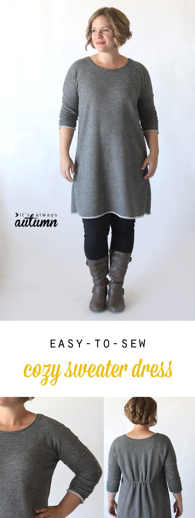 Learn how to sew this cute, easy to make DIY sweater dress or tunic with a free <i>sweater dress 2017</i> printable pattern and sewing tutorial.