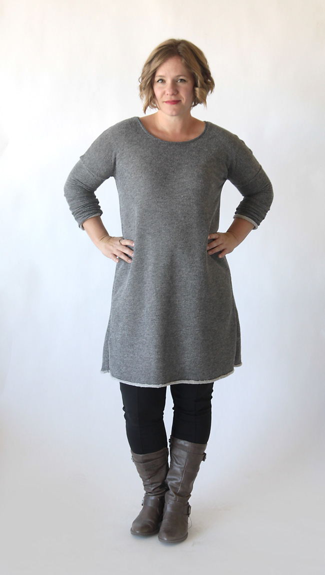 the breezy tee long sleeve sweater dress {free sewing pattern ...