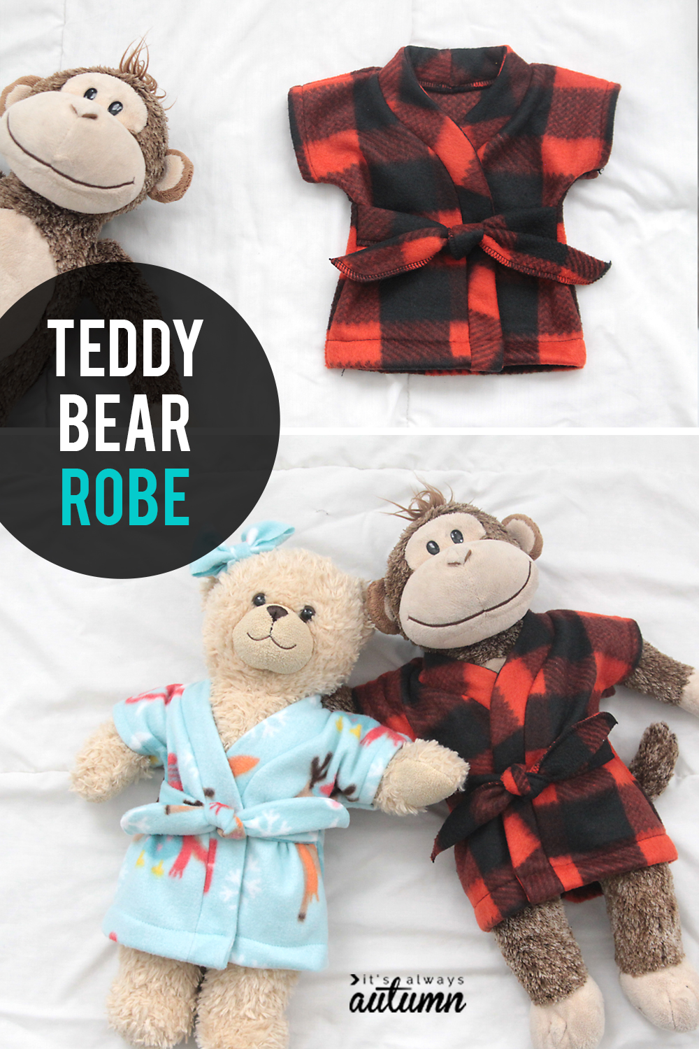 Sew this adorable teddy bear robe with a free sewing pattern. Fun Christmas gift for kids!