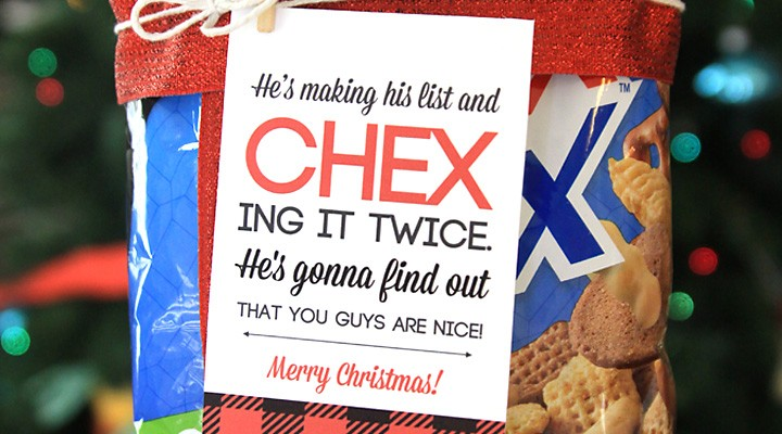 easy neighbor gift idea: CHEX mix + cute tag
