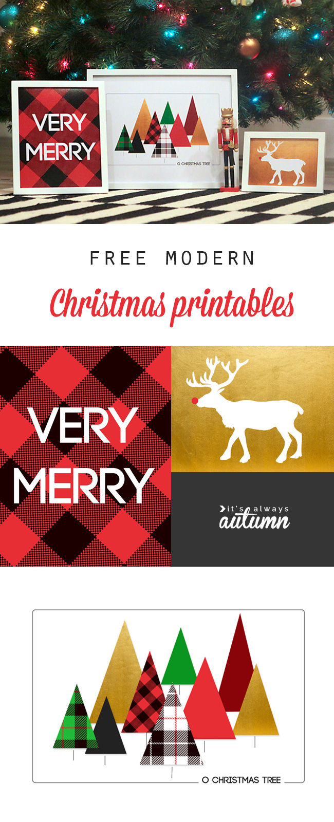 Modern Christmas printables - free Christmas prints and wall art for your home!