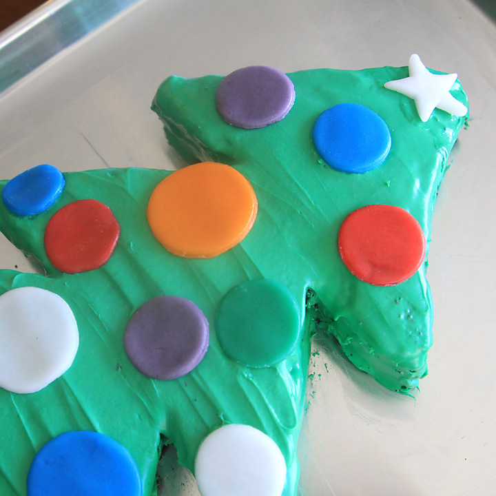 Christmas tree cake with candy ornaments