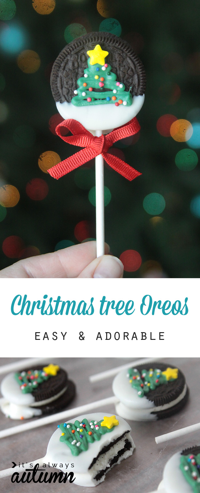 Christmas tree oreo pops it 39 s always autumn for Easy crafts for christmas presents