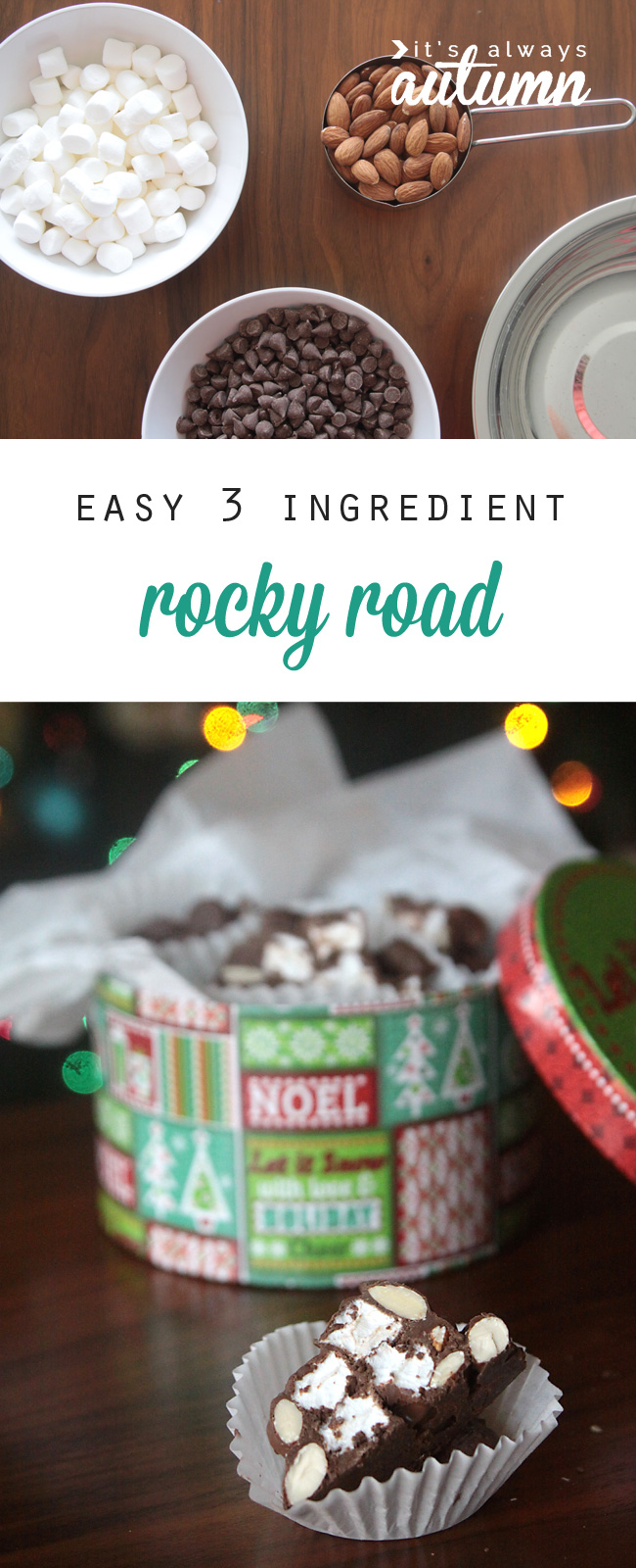 How to make homemade rocky road - YUM! Such an easy, inexpensive gift idea that's perfect for anyone on your holiday or Christmas list! Chocolate, almonds, and marshmallow.
