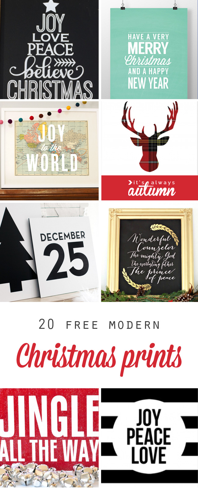 20 gorgeous modern christmas prints and theyre all free printable are