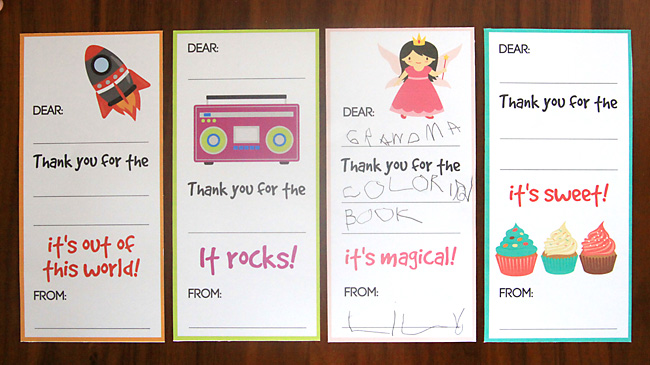 Unique Kids Thank You Cards Fill in the blank thank you note ...