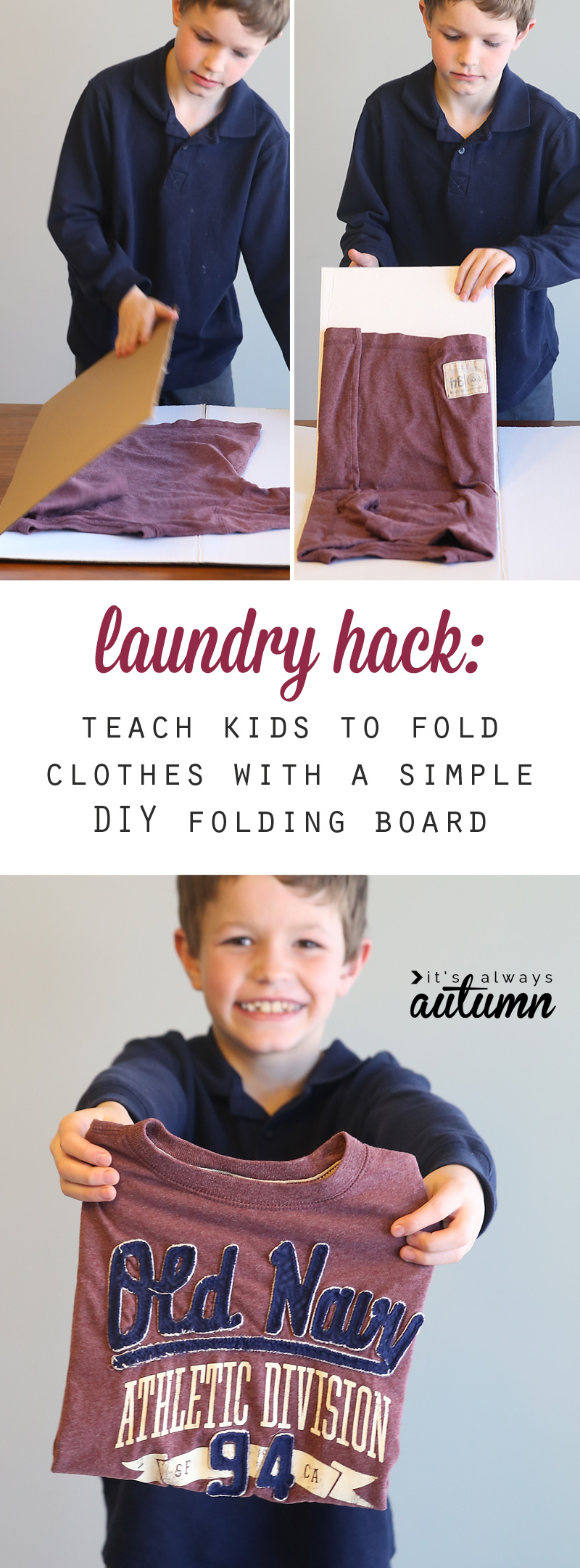 GENIUS! This simple cardboard folding helper makes it easy for kids fold their own clothes - what a great way to teach them to clean up. Click through to see how to make this laundry hack for $1.