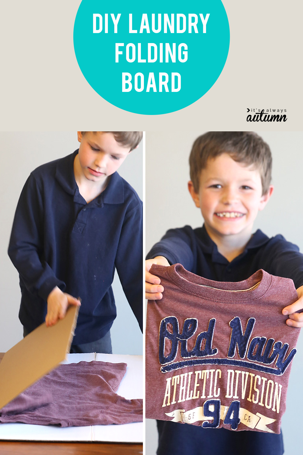 This is so smart! Make your kids a simple laundry folding board out of cardboard so they can learn to fold their clothes!