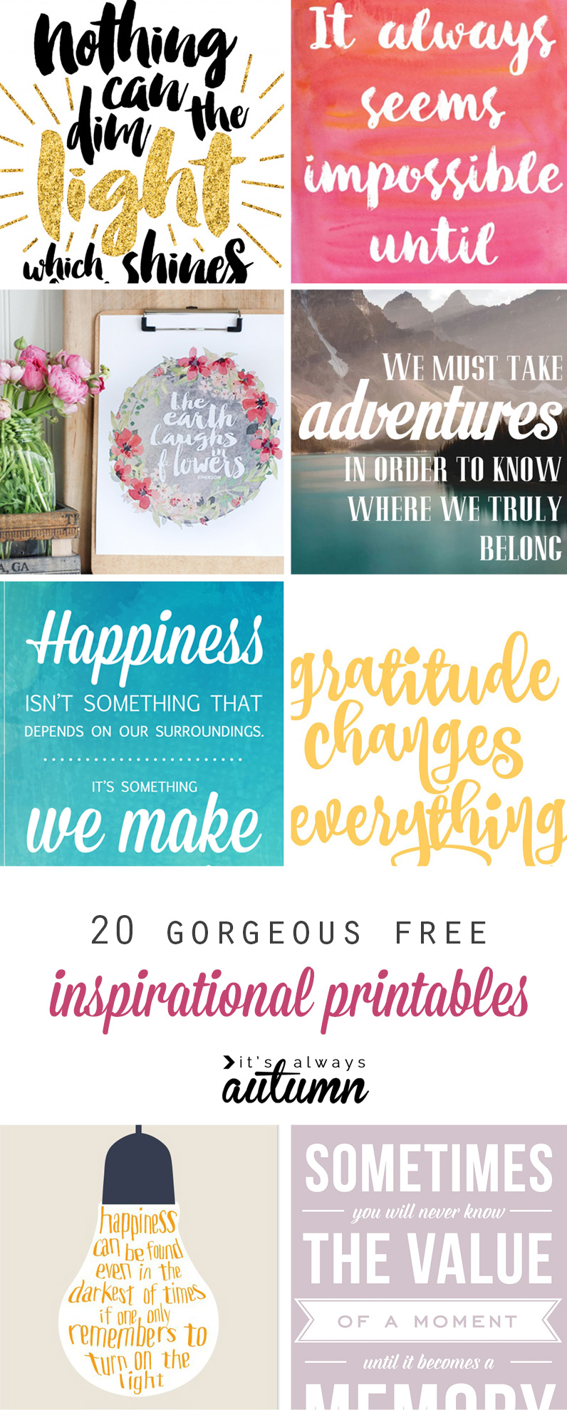 20 gorgeous & modern FREE inspirational quote printables - It\'s ...