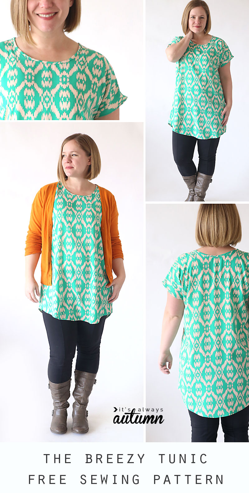 The breezy tee tunic free sewing pattern its always autumn this easy to sew tunic pattern only has two pieces and is free in womens size jeuxipadfo Image collections