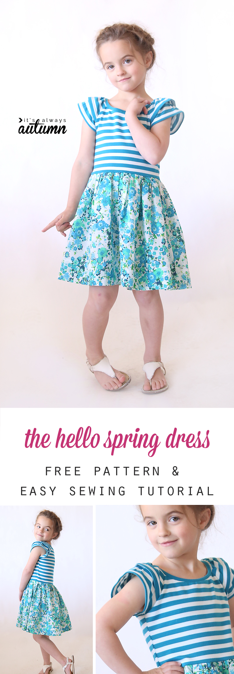 So cute! Free printable PDF pattern for this easy to sew girls' dress or top, plus a great step by step photo tutorial. Pattern comes in girls size 5.