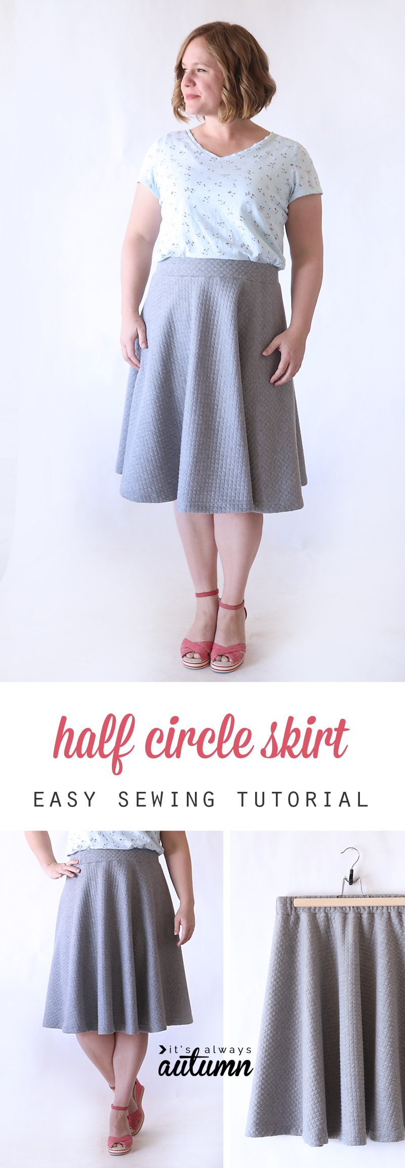 072bcbd73c0 Easy half circle skirt sewing tutorial - make a pattern in any size ...