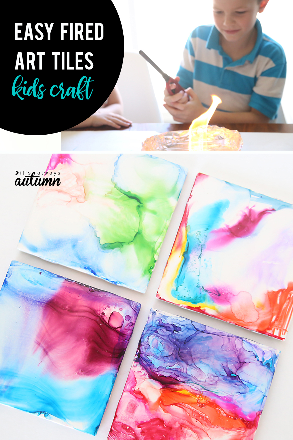Kids can make these fired art tiles with just pens and alcohol! Such a fun and easy kid craft.