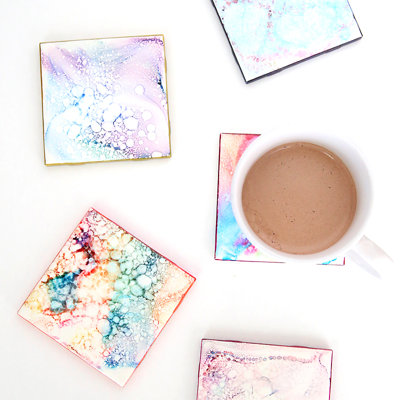 faux granite coasters {handmade gift kids can make}