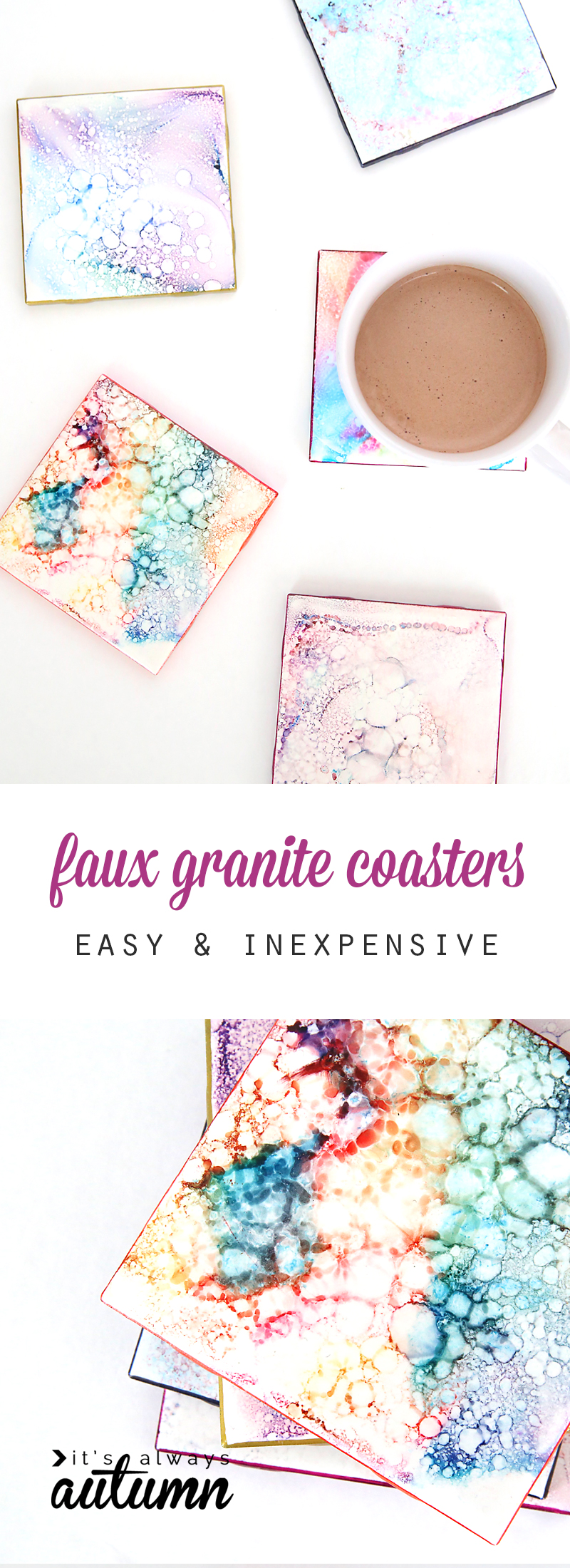 These are beautiful! Faux granite coasters make a gorgeous handmade gift (perfect for Mother's Day or Christmas!), but they're so easy to make kids can do it! Quick, cheap, inexpensive DIY gift.
