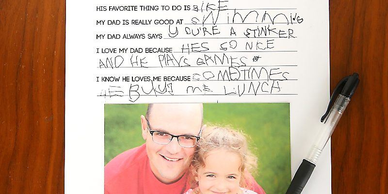 father's day questionnaire | gift kids can make