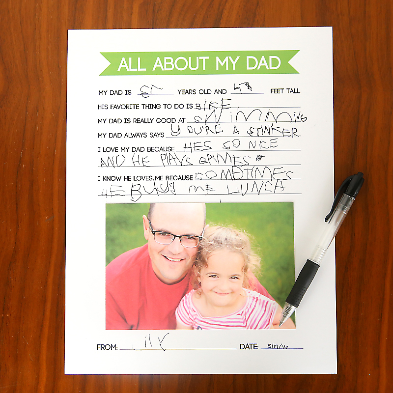 graphic regarding Father's Day Questionnaire Free Printable named Fathers Working day Questionnaire Do it yourself reward children can generate for Father