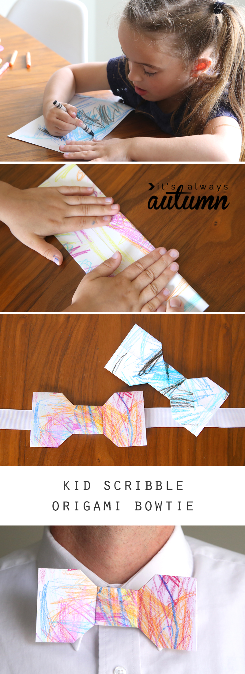 What a fun Father's Day gift kids can make! A kid scribble origami bowtie. Let kids color the paper, then fold up the bowtie and hot glue to a ribbon so Dad can wear it. Click through for folding video.