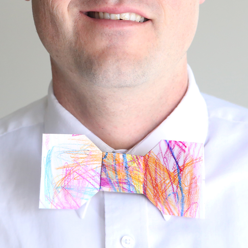 kid scribble origami bowtie for Father's Day