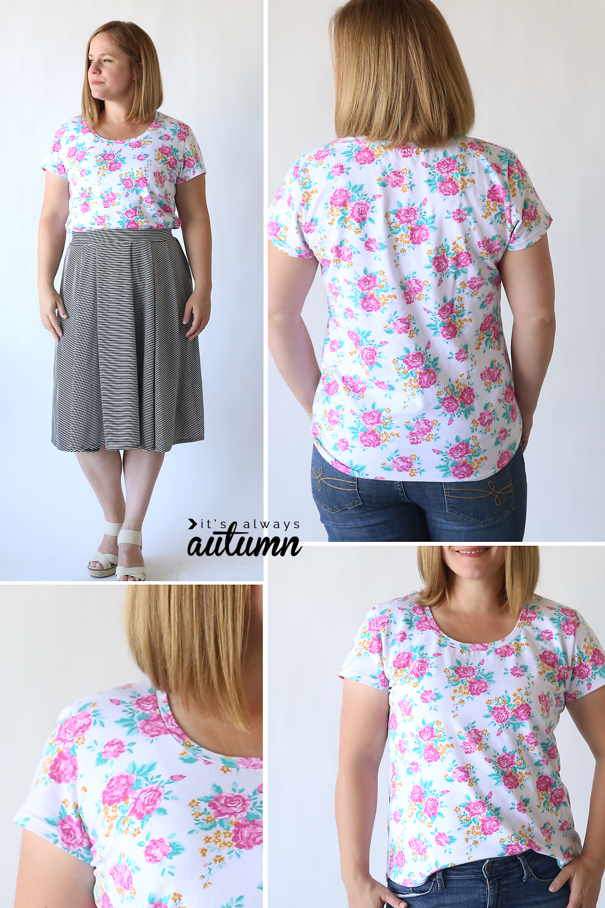 Learn to make a classic tee with this easy womens sewing tutorial and free pattern in size L. How to sew a t-shirt for women.