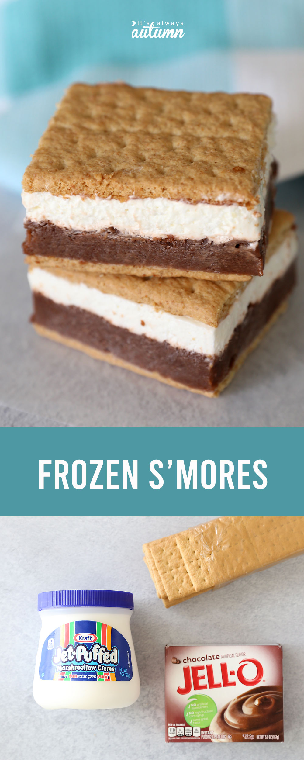 Frozen s'mores are a great way to enjoy all the flavor of s'mores in a cold treat! Keep them in your freezer so you can enjoy them anytime.