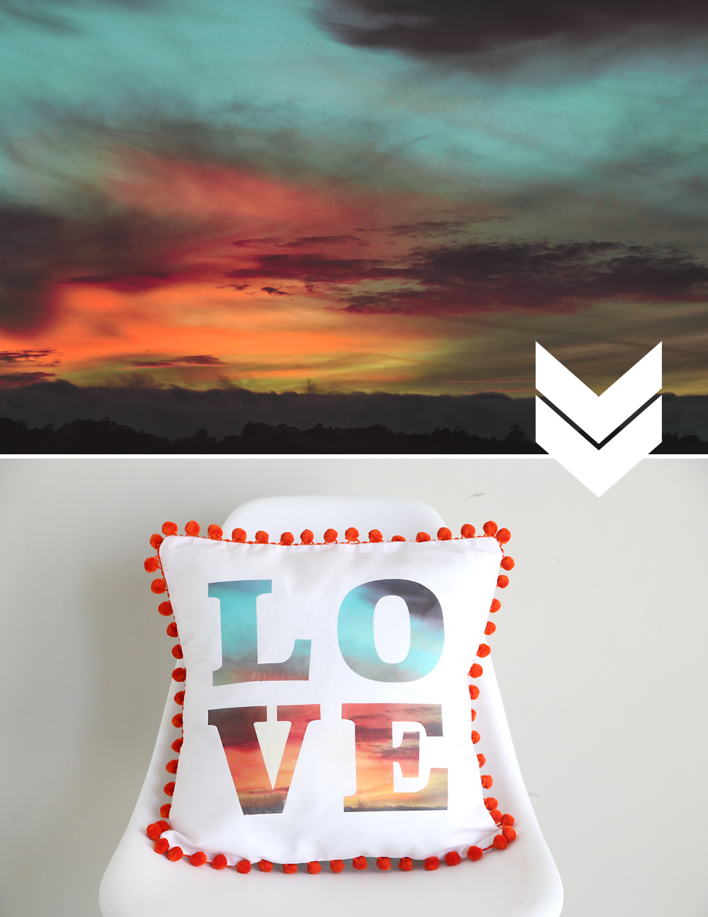 Cool! Put a favorite photo inside text for a modern, DIY typographical throw pillow. Click through to learn how. DIY home decor.