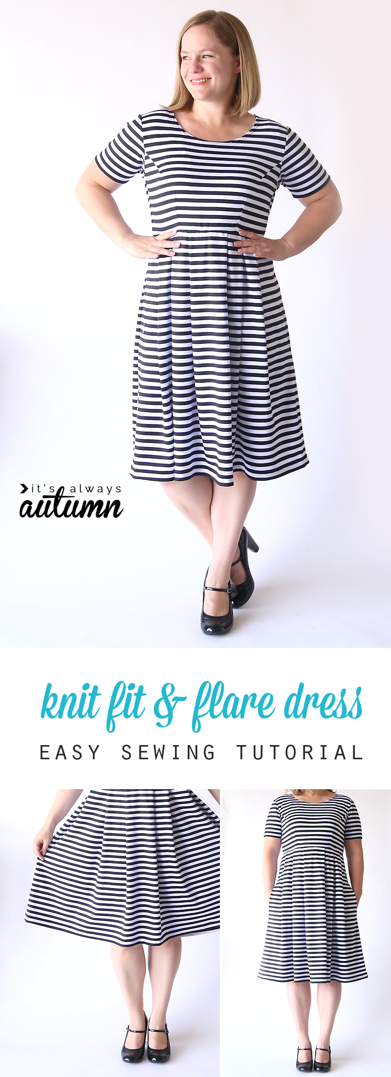 Sew the perfect knit fit flare dress without a pattern its the post shows you how to sew the perfect knit fit jeuxipadfo Image collections