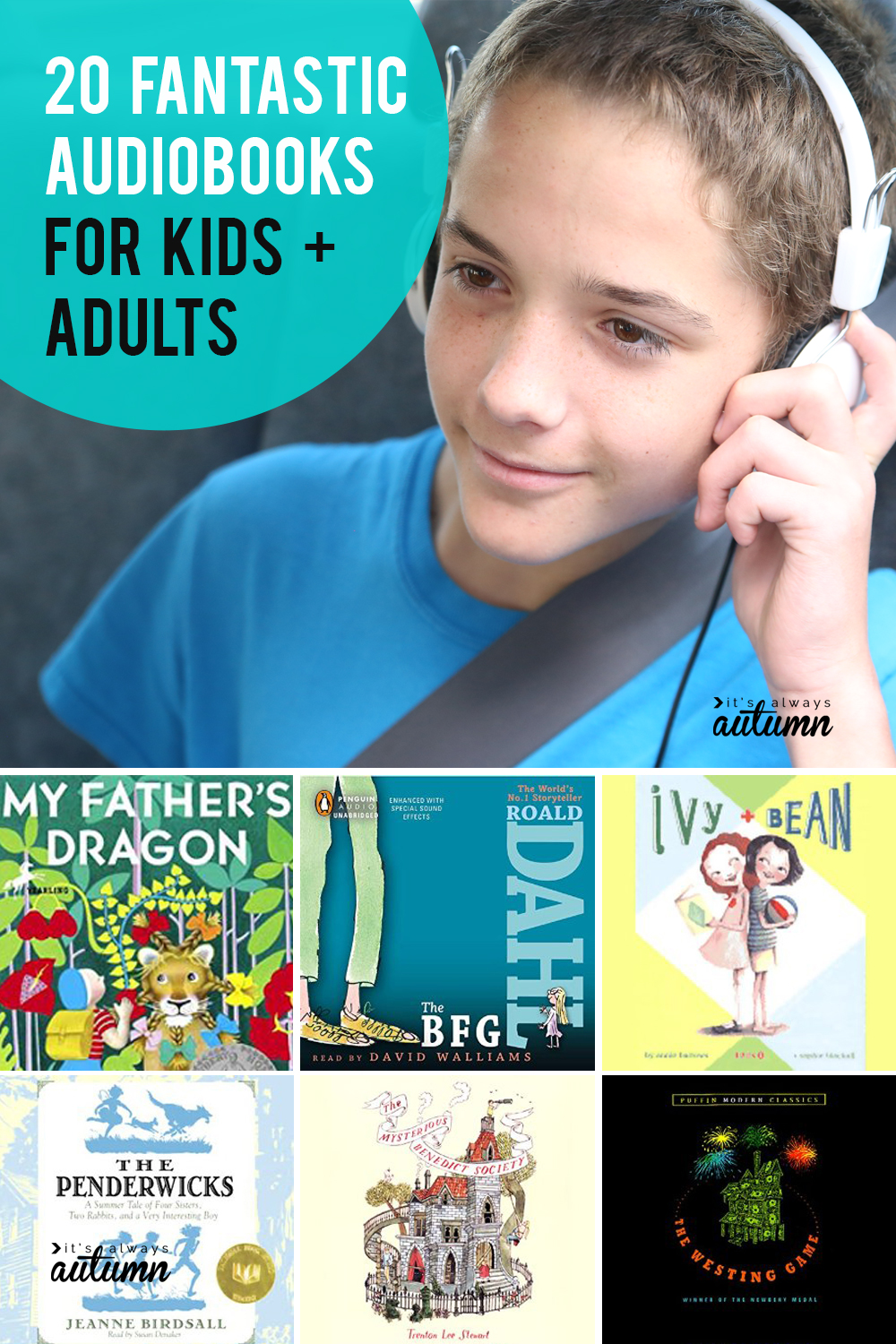 20 fantastic audiobooks to listen to on your next road trip! Audiobooks for kids, teens, and adults.