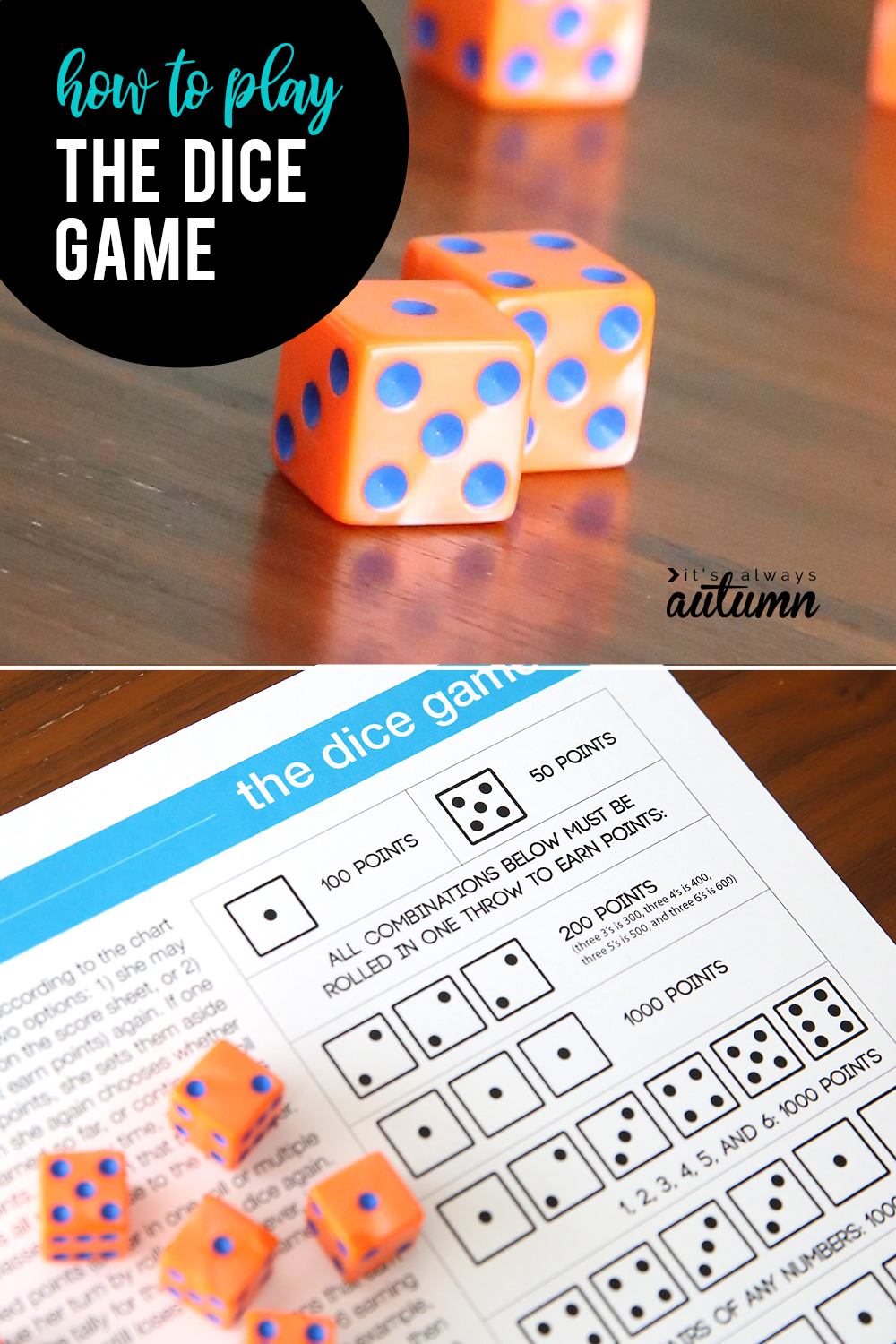 The dice game is easy to learn and fun to play! All you need are 6 dice and a piece of paper to keep score. Great way to keeps kids busy.