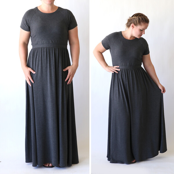 Woman wearing gray hand sewn maxi dress