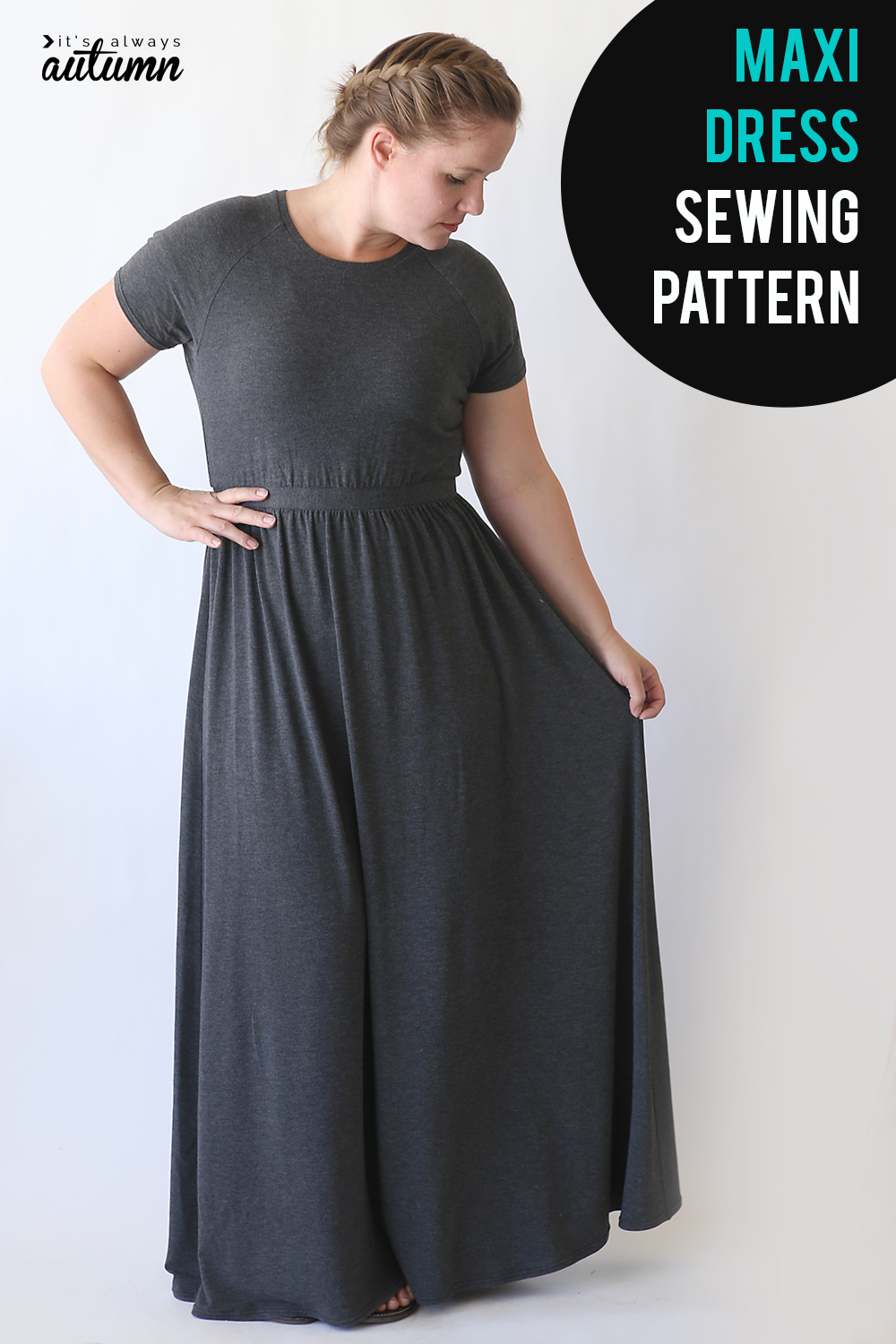 Learn how to make this cute maxi dress using a free t-shirt pattern. Raglan sleeve maxi dress sewing tutorial.