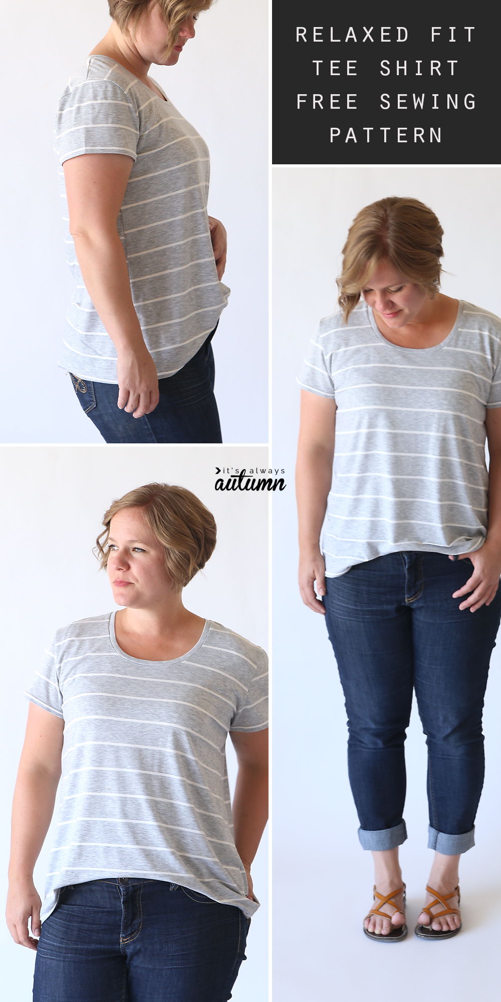 How to sew a classic women's tee with a relaxed fit. Free PDF pattern in size large and easy to follow sewing tutorial.