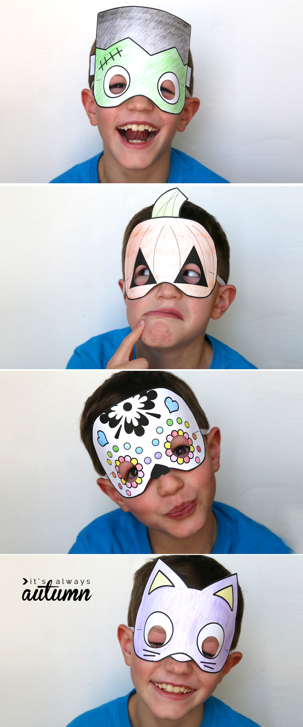 Halloween masks to print and color - It's Always Autumn