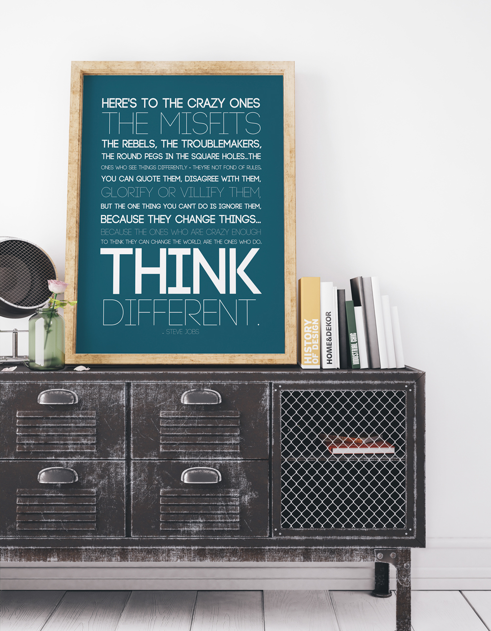 """Here's to the crazy ones"" quote by Steve Jobs art print. Free quote printable in three colors, perfect for teens or dorm room decor."